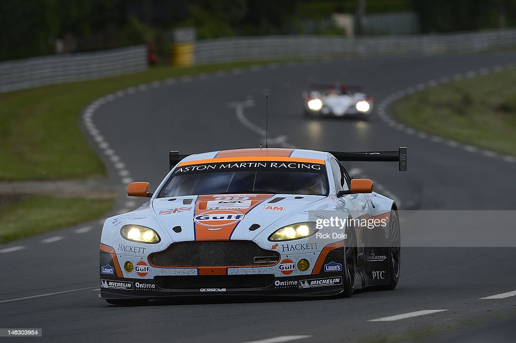 The Aston Martin Racing Vantage driven by Adrian Fernandez of Mexico Stefan Mucke of Germany and Darren Turner of Great Britain during practice for...