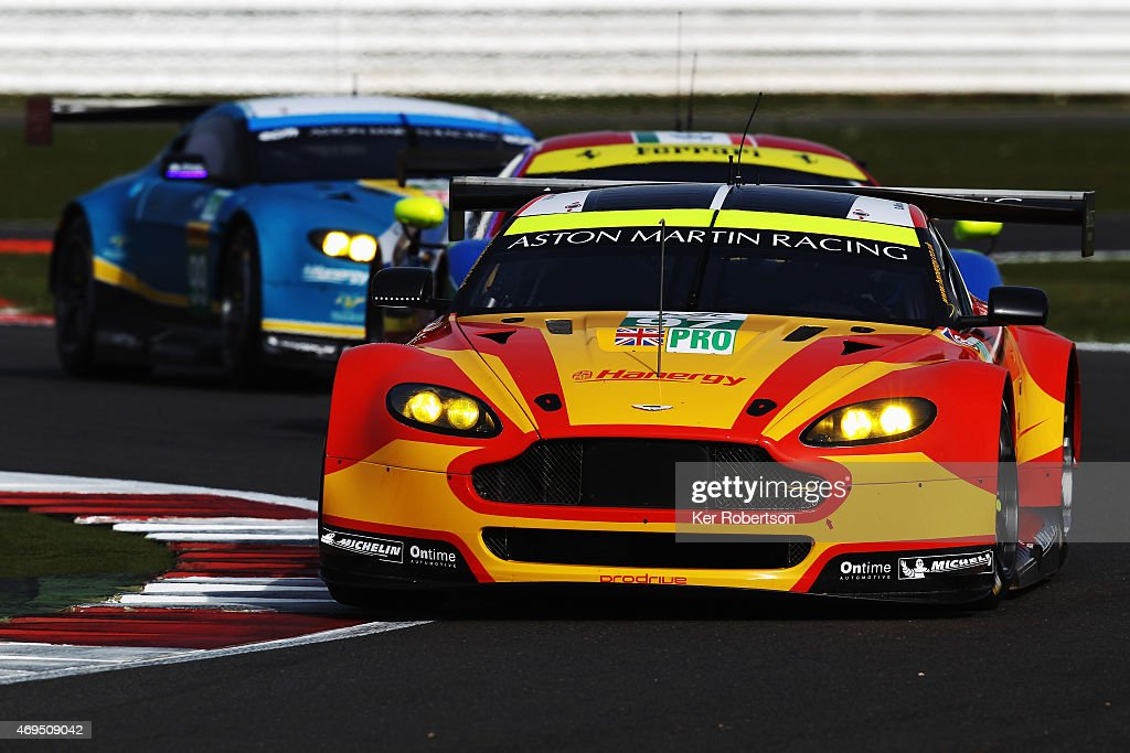 The Aston Martin Racing Vantage of Darren Turner and Stefan Mucke drives during practice for the FIA World Endurance Championship 6 Hours of...