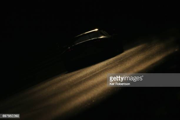 The Aston Martin Racing Vantage of Paul Dalla Lana Pedro Lamy and Mathias Lauda drives during qualifying for the Le Mans 24 Hours race at the Circuit...