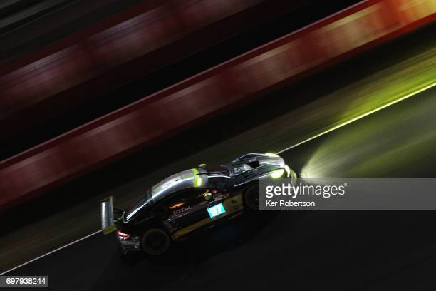 The Aston MArtin Racing Vantage team of Jonathan Adam Daniel Serra and Darren Turner drives on its way to winning the GTE Pro class during the Le...