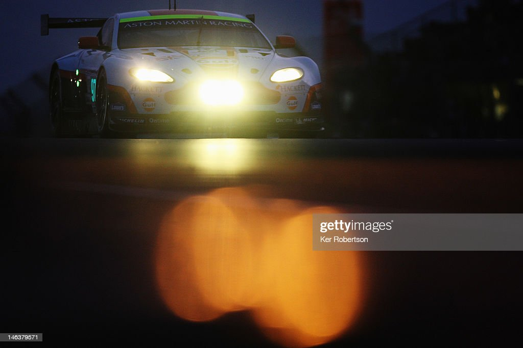 The Aston Martin Racing Vantage V8 of <a gi-track='captionPersonalityLinkClicked' href=/galleries/search?phrase=Darren+Turner&family=editorial&specificpeople=235550 ng-click='$event.stopPropagation()'>Darren Turner</a>, Stefan Mucke and <a gi-track='captionPersonalityLinkClicked' href=/galleries/search?phrase=Adrian+Fernandez&family=editorial&specificpeople=167077 ng-click='$event.stopPropagation()'>Adrian Fernandez</a> drives during qualifying for the Le Mans 24 Hour race at the Circuit de la Sarthe on June 14, 2012 in Le Mans, France.
