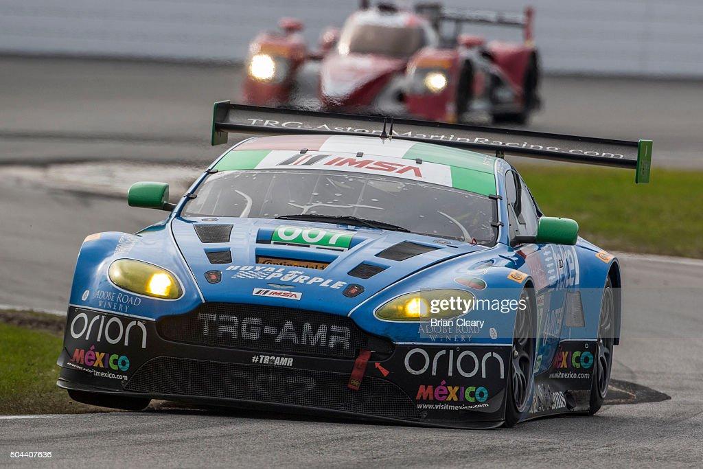 The Aston Martin Vantage of Santiago Greel Antonio Perez Ricardo Perez de Lara Sergio Perez and Lars Viljoen drives on the track during the Roar...