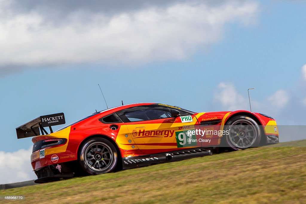 The Aston Martin Vantage V8 of FDarren Turnar and Jonathan Adam races up a hill during practice for the FIA World Endurance Championship race at...