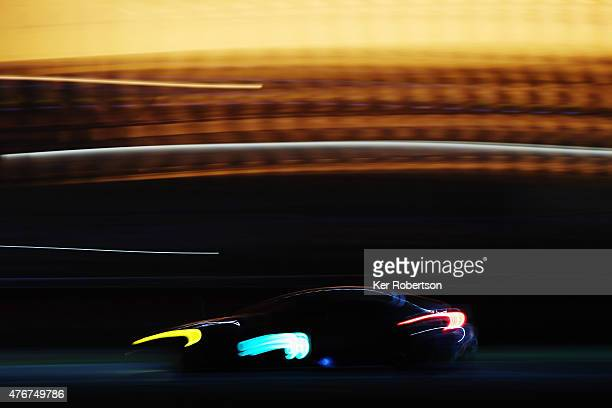 The Aston Martin Vantage V8 of Fernando Rees Alex MacDowall and Richie Stanaway drives during qualifying for the Le Mans 24 Hour race at the Circuit...
