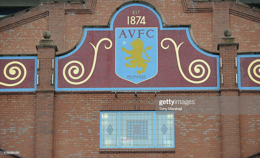 The Aston Villa club crest is displayed outside the Holte End at Villa Park before the Barclays Premier League match between Aston Villa and Norwich...
