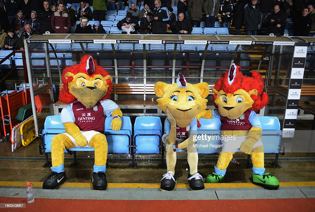 The Aston Villa mascots sit on the home bench at half time during the Barclays Premier League match between Aston Villa and Newcastle United at Villa Park on January 29, 2013 in Birmingham, England.