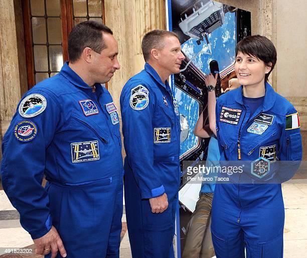 The astronauts Anton Shkaplerov of Roscomos space agency Terry Virts of NASA and Samantha Cristoforetti of ESA attend the ESA Futura Mission press...