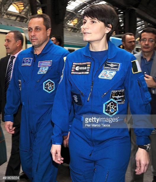 The astronauts Samantha Cristoforetti of ESA space agency and Anton Shkaplerov of Roscomos space agency attend the ESA Futura Mission press...
