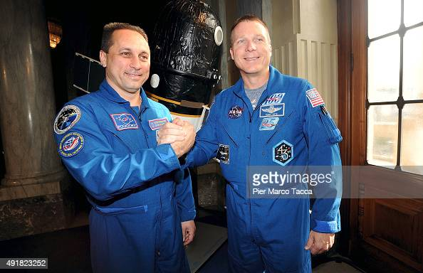 The astronauts Terry Virts of NASA and Anton Shkaplerov of Roscomos space agency pose at the end of the ESA Futura Mission press conference at the...