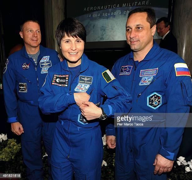 The astronauts Terry Virts of NASA Samantha Cristoforetti of ESA space agency and Anton Shkaplerov of Roscomos space agency attend the ESA Futura...