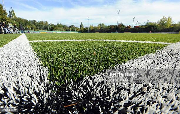 The Astroturf pitch is seen before a training session of the German football team in the western German city of Mainz on October 6 2009 The team are...