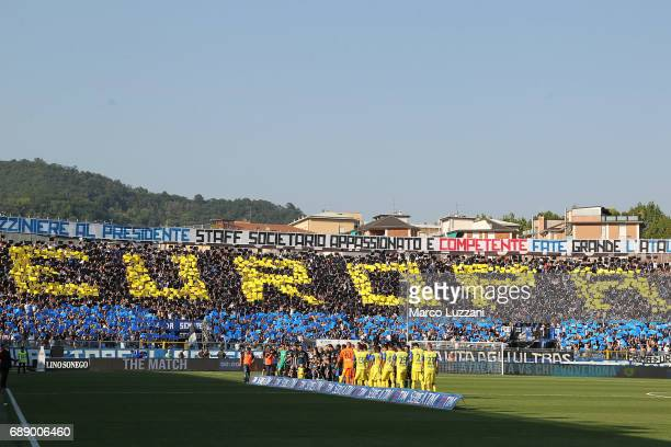The Atalanta BC fans show their support before the Serie A match between Atalanta BC and AC ChievoVerona at Stadio Atleti Azzurri d'Italia on May 27...