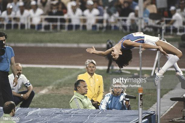 The athlete Italian Sara Simeoni during the Olympic final of the high jump at Moscow Olympic games Moscow Russian Federation 1980