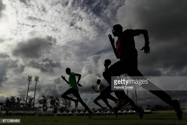The Athlete Refugee Team practices prior to the IAAF / BTC World Relays Bahamas 2017 at the Thomas Robinson Stadium on April 21 2017 in Nassau Bahamas