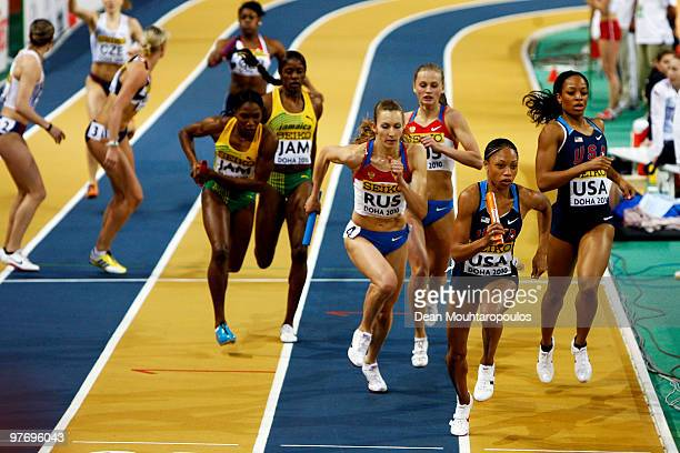 The athletes compete in the Womens 4 x 400m relay during Day 3 of the IAAF World Indoor Championships at the Aspire Dome on March 14 2010 in Doha...