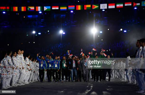 The athletes make their way into the stadium during the closing ceremony of Baku 2017 4th Islamic Solidarity Games at the Olympic Stadium on May 22...
