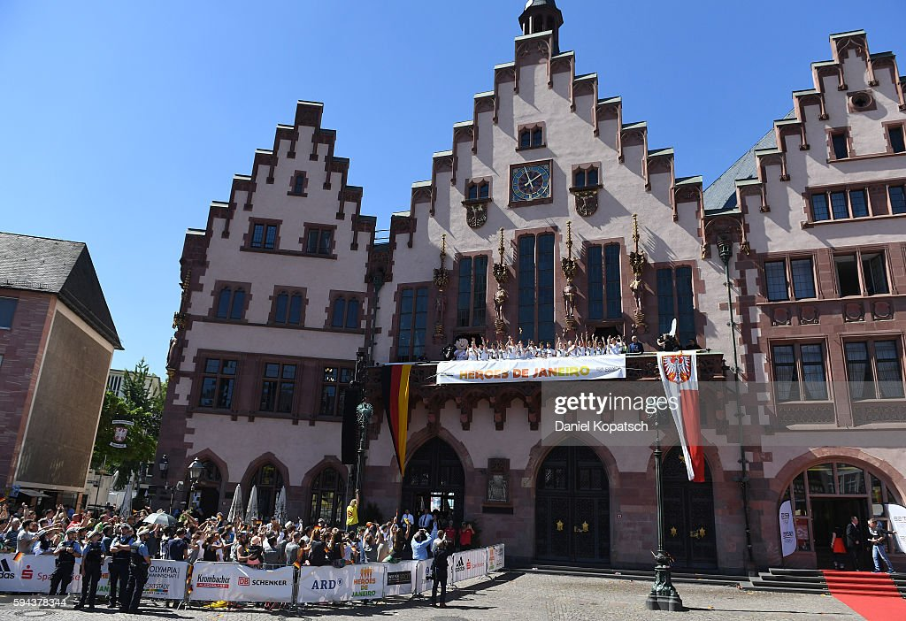 The Athletes of Germany celebrate during the German Olympic Team Welcome Home Reception on August 23 2016 in Frankfurt am MaIN GERMANY