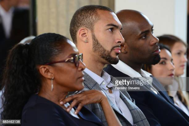 The athletes Rudy Gobert Marie Josee Perec and Teddy Riner during a wrap up news conference following his second day tour of venues proposed by Paris...