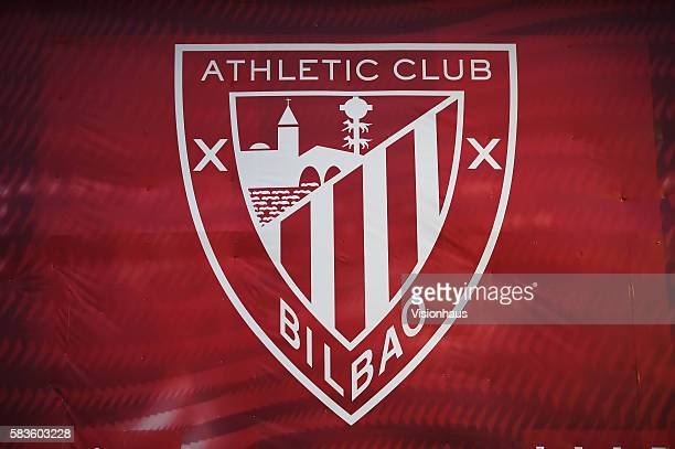 The Athletic Bilbao crest on the San Memes Stadium before the La Liga match between Athletic Bilbao and Barcelona at the San Mamés Stadium in Bilbao...