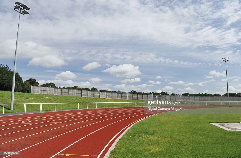 The athletics track at The University of Bath during a shoot for Digital Camera Magazine August 15 2011