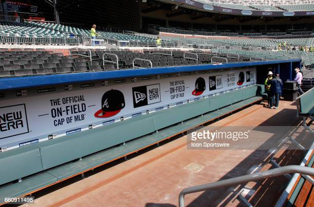 The Atlanta Braves dugout at the new SunTrust Park that is the new home of The Atlanta Braves on March 29 at SunTrust Park in Atlanta GA
