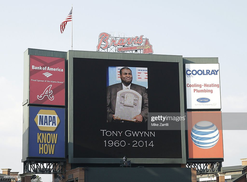 The Atlanta Braves honored Tony Gwynn with a moment of silence before the game against the Philadelphia Phillies at Turner Field on June 16, 2014 in Atlanta, Georgia.