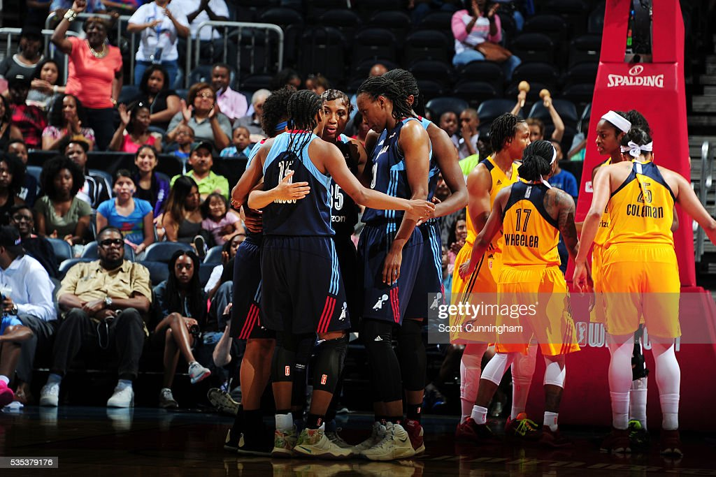 The Atlanta Dream huddle during the game against the Indiana Fever on May 29, 2016 at Philips Arena in Atlanta, Georgia.