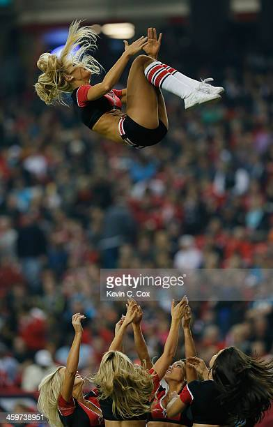 The Atlanta Falcons cheerleaders perform during the game against the Carolina Panthers at Georgia Dome on December 29 2013 in Atlanta Georgia