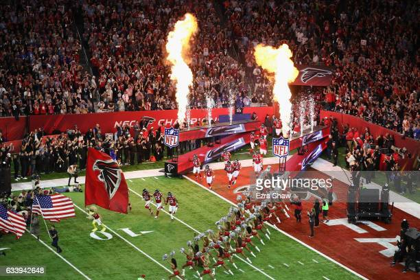 The Atlanta Falcons take the field prior to Super Bowl 51 against the New England Patriots at NRG Stadium on February 5 2017 in Houston Texas