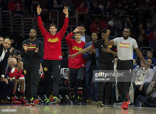 The Atlanta Hawks bench reacts in the game against the Philadelphia 76ers on January 7 2016 at the Wells Fargo Center in Philadelphia Pennsylvania...