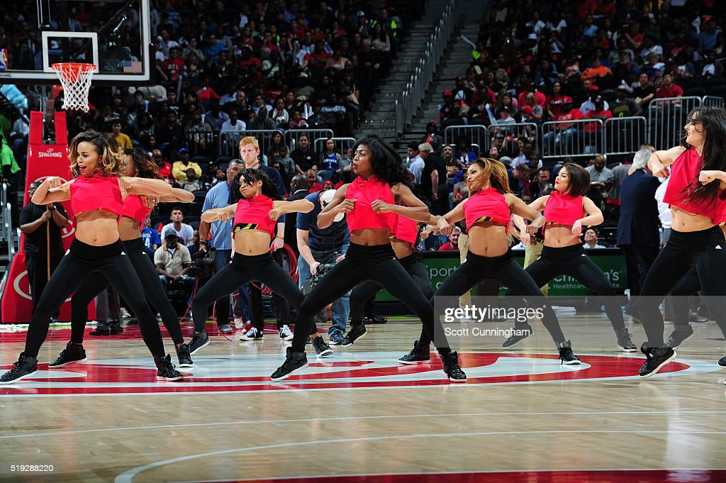 The Atlanta Hawks dance team is seen against the Phoenix Suns on April 5 2016 at Philips Arena in Atlanta Georgia NOTE TO USER User expressly...