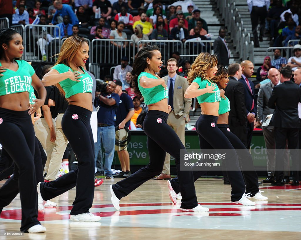 The Atlanta Hawks dance team is seen during the game against the Denver Nuggets on March 17 2016 at Philips Arena in Atlanta Georgia NOTE TO USER...