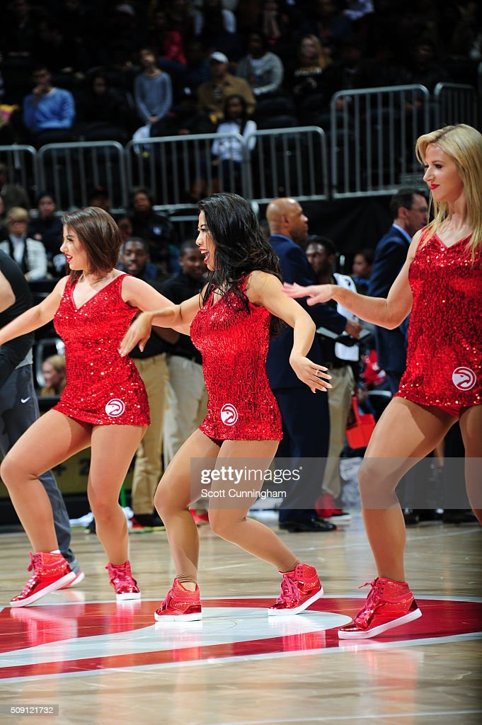 The Atlanta Hawks dance team is seen during the game between the Orlando Magic and the Atlanta Hawks on February 8 2016 at Philips Arena in Atlanta...