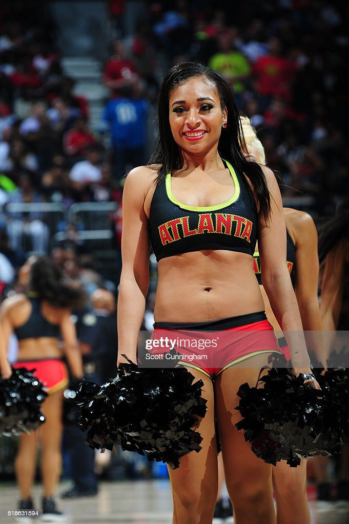 The Atlanta Hawks dance team is seen during the game between the Cleveland Cavaliers and Atlanta Hawks on April 1 2016 at Philips Arena in Atlanta...
