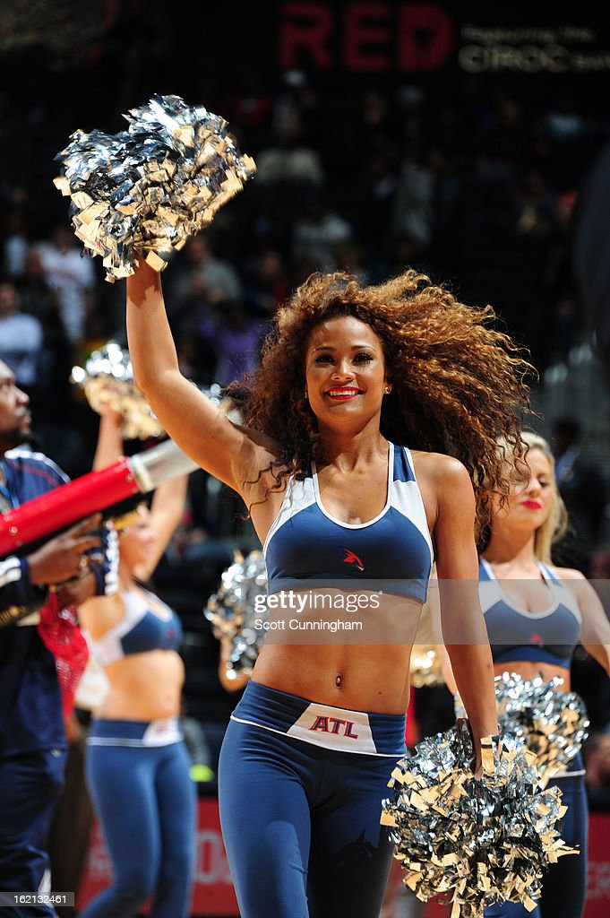 The Atlanta Hawks dance team performs during half time against the Toronto Raptors on January 30, 2013 at Philips Arena in Atlanta, Georgia.