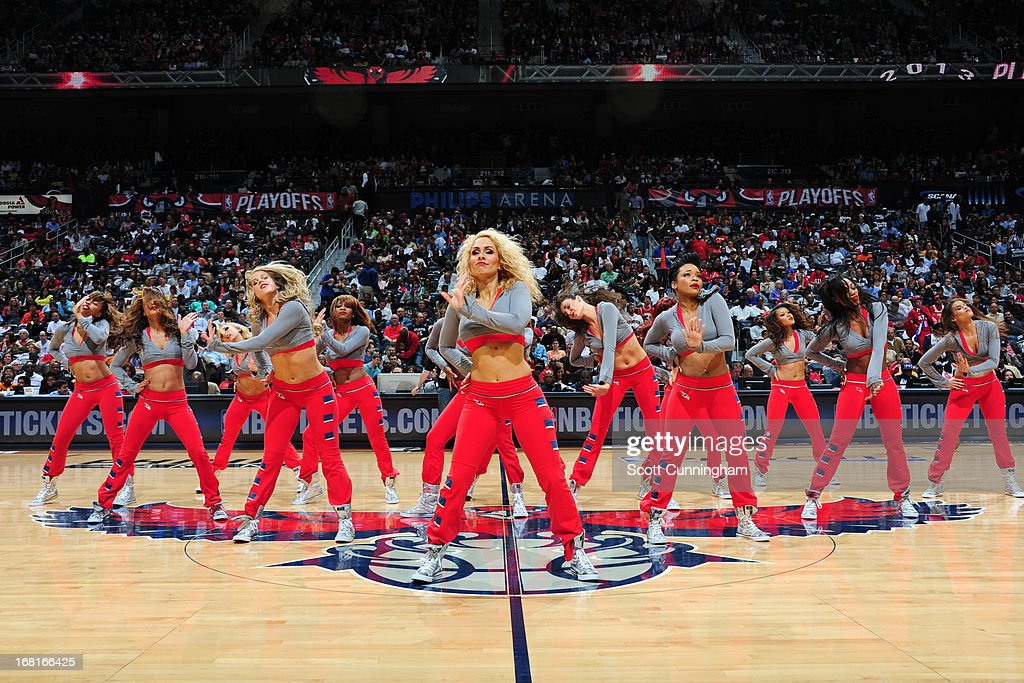 The Atlanta Hawks dance team performs during the game against the Indiana Pacers during Game Six of the Eastern Conference Quarterfinals in the 2013 NBA Playoffs on May 3, 2013 at Philips Arena in Atlanta, Georgia.