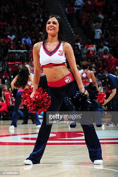 The Atlanta Hawks dance team performs during the game against the Brooklyn Nets during Game One of the Eastern Conference Quarterfinals of the NBA...