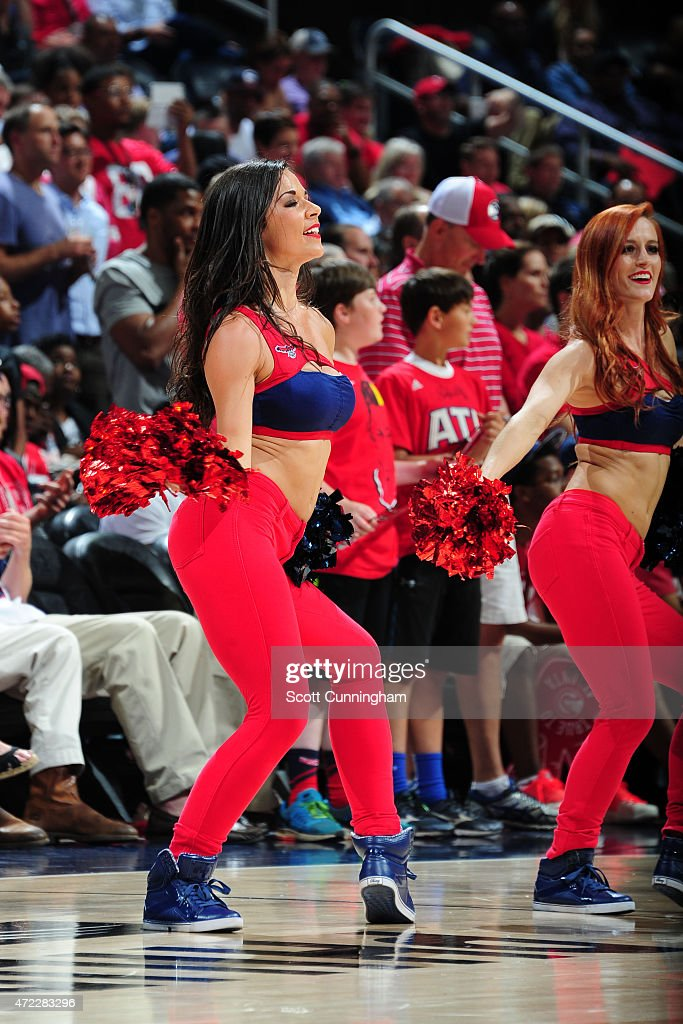 The Atlanta Hawks dance team performs during the game against the Washington Wizards in Game Two of the Eastern Conference Semifinals of the NBA...