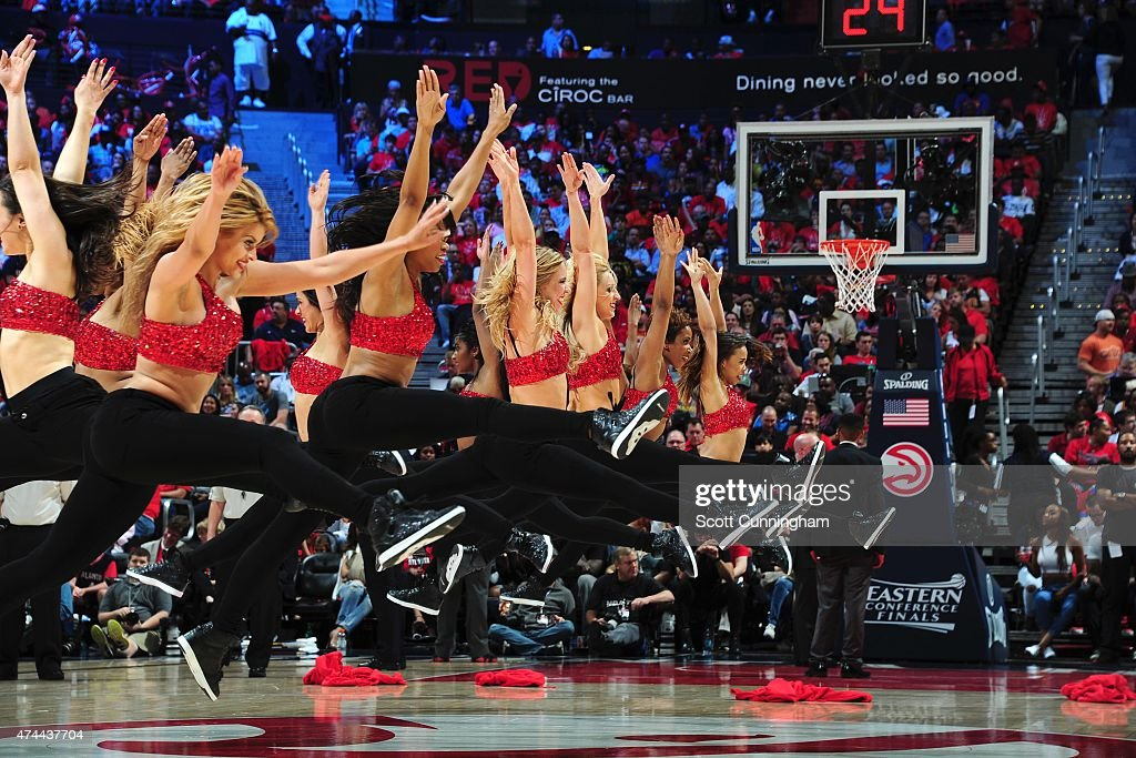 The Atlanta Hawks dance team performs during the game against the Cleveland Cavaliers in Game Two of the Eastern Conference Finals of the NBA...