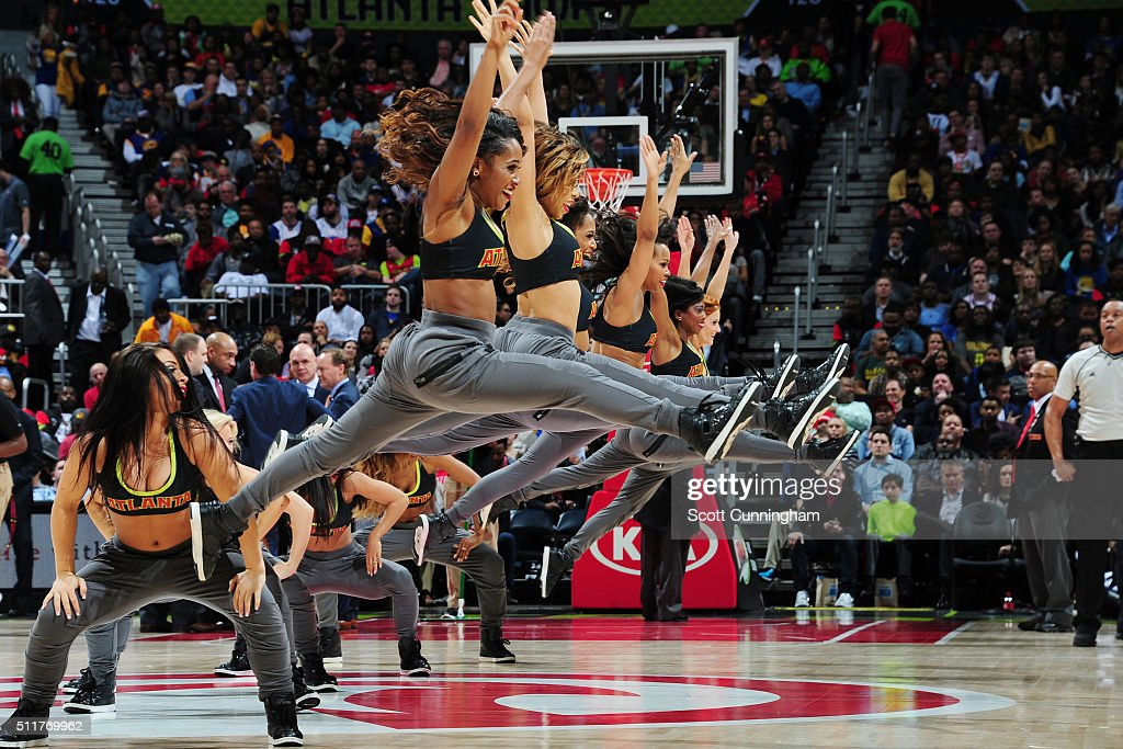 The Atlanta Hawks dance team performs during the game against the Golden State Warriors on February 22 2016 at Philips Center in Atlanta Georgia NOTE...