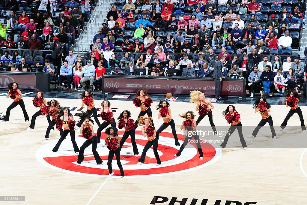 The Atlanta Hawks dance team performs during the game against the Charlotte Hornets on February 28 2016 at Philips Center in Atlanta Georgia NOTE TO...