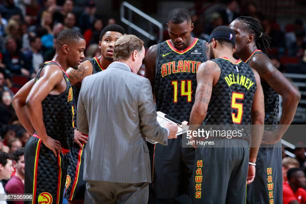 The Atlanta Hawks huddle during the game against the Chicago Bulls on October 26 2017 at the United Center in Chicago Illinois NOTE TO USER User...