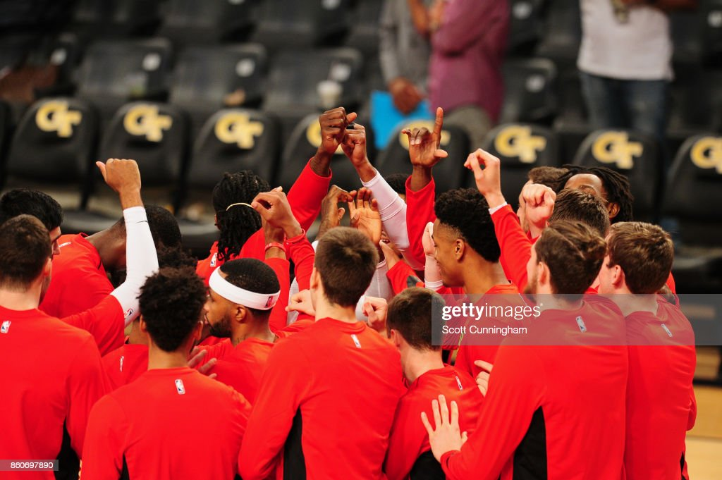 The Atlanta Hawks huddle up before the game against the Dallas Mavericks on October 12, 2017 at McCamish Pavilion in Atlanta, Georgia.