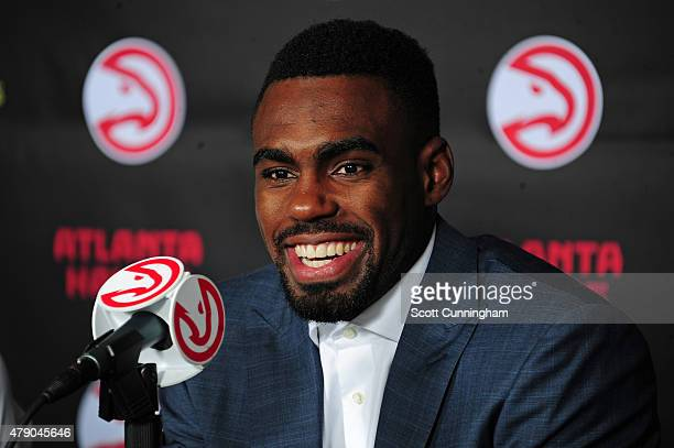 The Atlanta Hawks introduce Tim Hardaway Jr as a new member of the team during a press conference on June 29 2015 at Philips Arena in Atlanta Georgia...