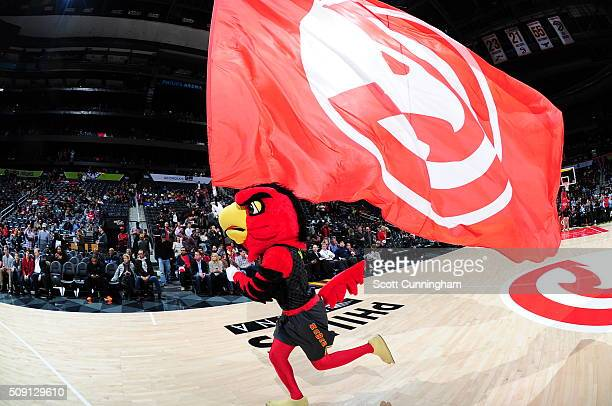 The Atlanta Hawks mascot is during the game against the Orlando Magic on February 8 2016 at Philips Arena in Atlanta Georgia NOTE TO USER User...