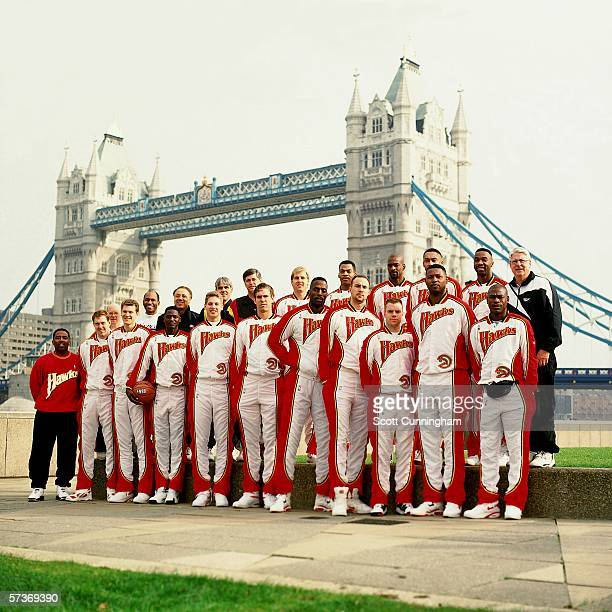 The Atlanta Hawks pose for a team portrait in front of the London Bridge prior to the 1993 London Exhibition Games played at Wembley Arena on October...
