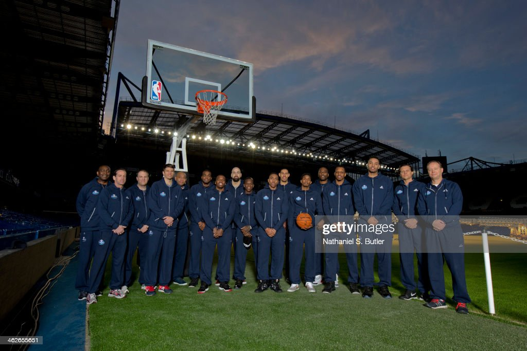 The Atlanta Hawks poses for a team as part of the 2014 Global Games on January 14, 2014 at Chelsea Football Club in London, England.