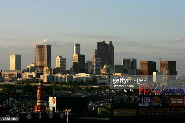 The Atlanta skyline sits beyond Turner Field before the start of the New York Mets versus Atlanta Braves during the Braves home season opening game...