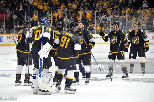 The Atlantic Division AllStars celebrate defeating the Metropolitan Division AllStars during the Eastern Conference Semifinal Game as part of the...