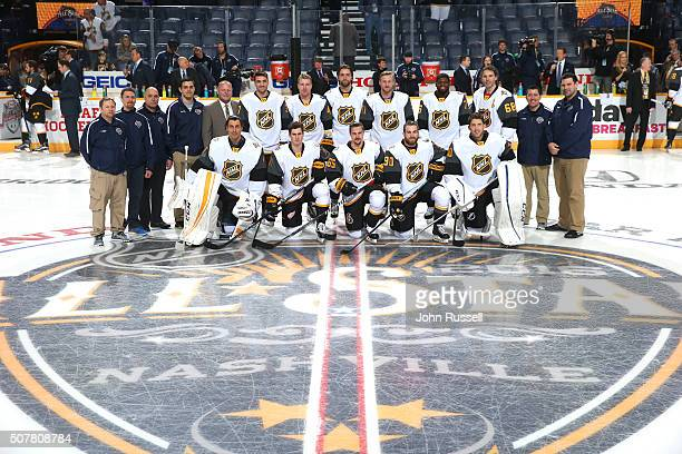 The Atlantic Division team and head coach Gerard Gallant 5th standing from left pose for a team photo prior to their 2016 Honda NHL AllStar Eastern...